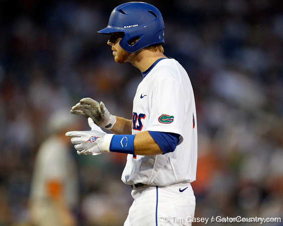 Florida senior Bryson Smith reacts after hitting an RBI single during the Gators' 8-4 win against the Texas Longhorns in the College World Series on Saturday, June 18, 2011 at TD Ameritrade Park in Omaha, Neb. / Gator Country photo by Tim Casey