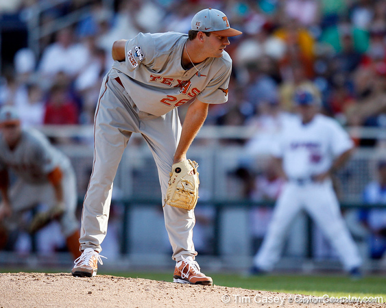 Texas pitcher Taylor Jungmann looks for a signal during the Gators' game against the Texas Longhorns in the College World Series on Saturday, June 18, 2011 at TD Ameritrade Park in Omaha, Neb. / Gator Country photo by Tim Casey