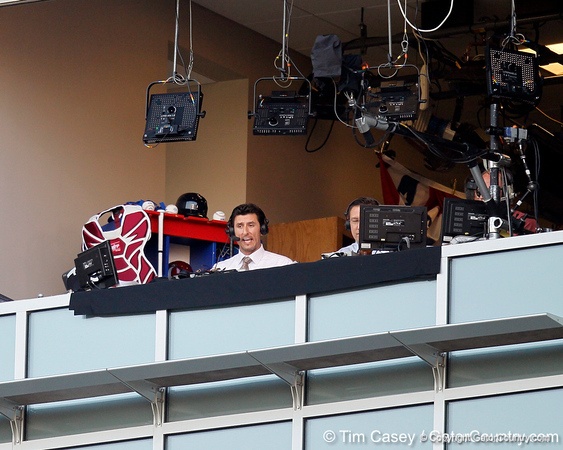 ESPN analyst Nomar Garciaparra talks during a television broadcast during the Gators' game against the Texas Longhorns in the College World Series on Saturday, June 18, 2011 at TD Ameritrade Park in Omaha, Neb. / Gator Country photo by Tim Casey