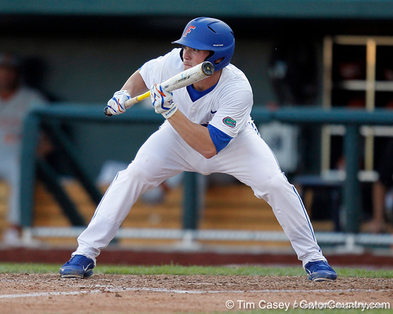 Florida sophomore shortstop Nolan Fontana prepares to bunt during the Gators' game against the Texas Longhorns in the College World Series on Saturday, June 18, 2011 at TD Ameritrade Park in Omaha, Neb. / Gator Country photo by Tim Casey