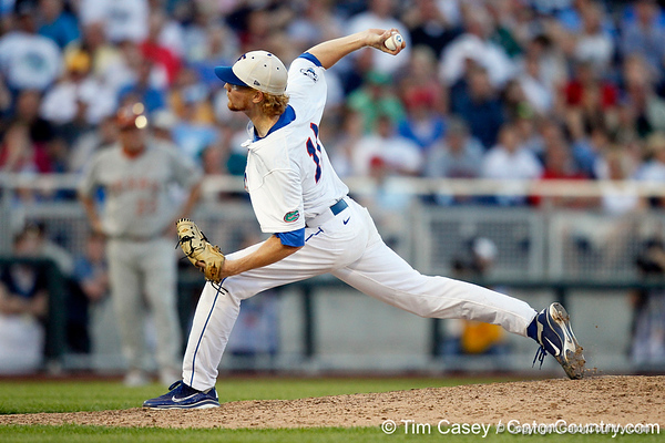 Florida sophomore pitcher Hudson Randall throws a pitch during the Gators' 8-4 win against the Texas Longhorns in the College World Series on Saturday, June 18, 2011 at TD Ameritrade Park in Omaha, Neb. / Gator Country photo by Tim Casey