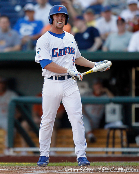 Florida sophomore shortstop Nolan Fontana reacts after a pitch during the Gators' game against the Texas Longhorns in the College World Series on Saturday, June 18, 2011 at TD Ameritrade Park in Omaha, Neb. / Gator Country photo by Tim Casey