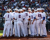 Florida players huddle during the Gators' game against the Texas Longhorns in the College World Series on Saturday, June 18, 2011 at TD Ameritrade Park in Omaha, Neb. / Gator Country photo by Tim Casey