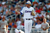 Florida sophomore pitcher Hudson Randall signals to a teammate during the Gators' game against the Texas Longhorns in the College World Series on Saturday, June 18, 2011 at TD Ameritrade Park in Omaha, Neb. / Gator Country photo by Tim Casey