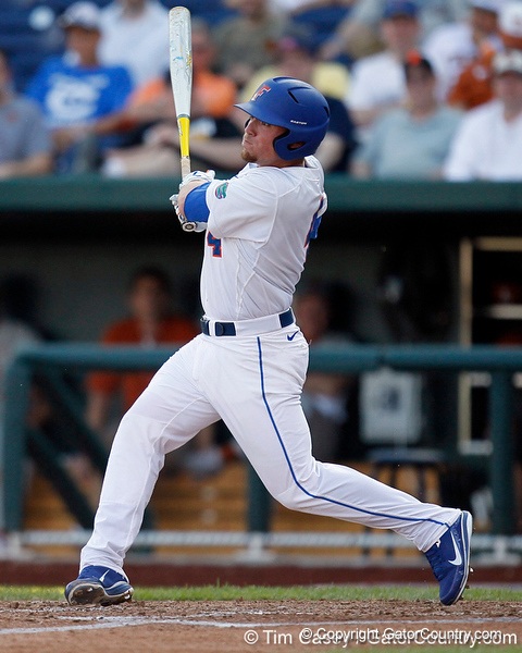 Florida sophomore shortstop Nolan Fontana lines out to left during the Gators' game against the Texas Longhorns in the College World Series on Saturday, June 18, 2011 at TD Ameritrade Park in Omaha, Neb. / Gator Country photo by Tim Casey