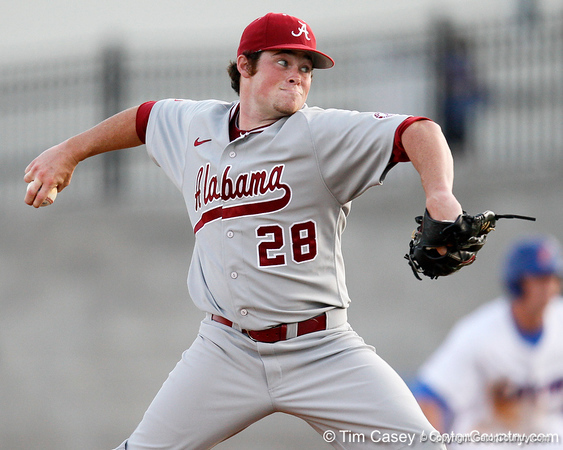 Alabama pitcher Nathan Kilcrease winds up during the Gators' 7-0 win against the Crimson Tide on Friday, April 22, 2011 at McKethan Stadium in Gainesville, Fla. / Gator Country photo by Tim Casey