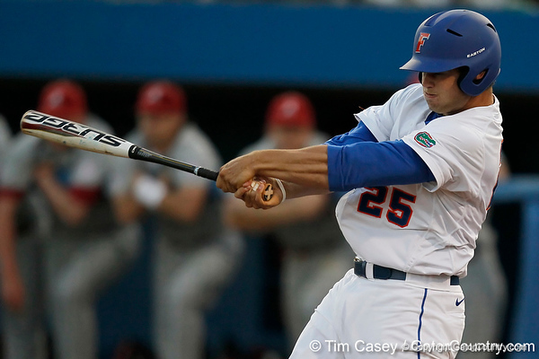 Florida junior Preston Tucker swings during the Gators' 7-0 win against the Alabama Crimson Tide on Friday, April 22, 2011 at McKethan Stadium in Gainesville, Fla. / Gator Country photo by Tim Casey