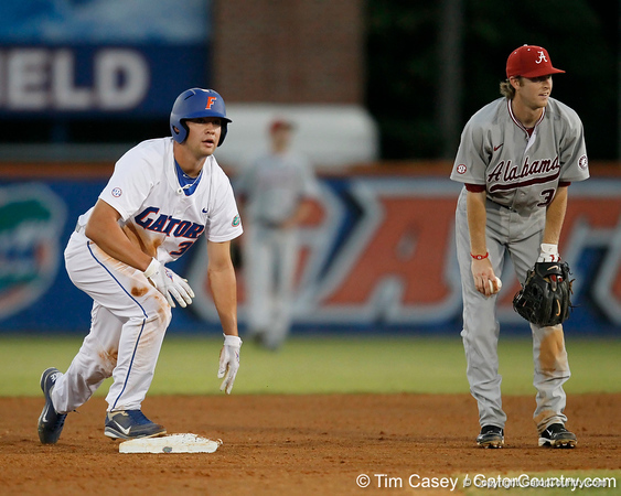 Florida sophomore Brian Johnson steals second base during the Gators' 7-0 win against the Alabama Crimson Tide on Friday, April 22, 2011 at McKethan Stadium in Gainesville, Fla. / Gator Country photo by Tim Casey