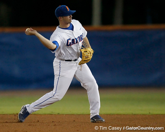Florida senior Josh Adams throws to first base during the Gators' 7-0 win against the Alabama Crimson Tide on Friday, April 22, 2011 at McKethan Stadium in Gainesville, Fla. / Gator Country photo by Tim Casey