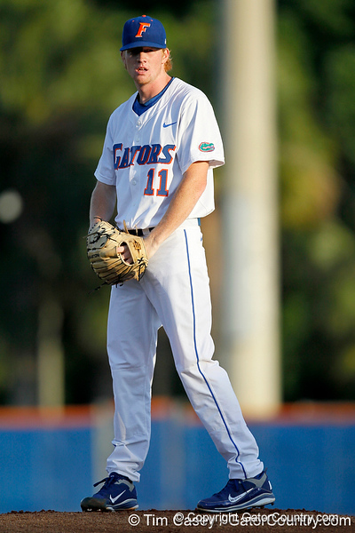 Florida sophomore pitcher Hudson Randall warms up before the Gators' 7-0 win against the Alabama Crimson Tide on Friday, April 22, 2011 at McKethan Stadium in Gainesville, Fla. / Gator Country photo by Tim Casey