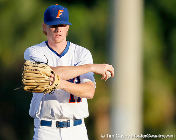 Florida sophomore pitcher Hudson Randall warms up the Gators' 7-0 win against the Alabama Crimson Tide on Friday, April 22, 2011 at McKethan Stadium in Gainesville, Fla. / Gator Country photo by Tim Casey