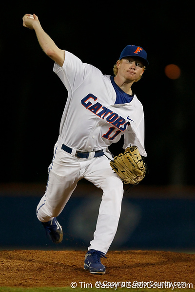 Florida sophomore pitcher Hudson Randall warms up during the Gators' 7-0 win against the Alabama Crimson Tide on Friday, April 22, 2011 at McKethan Stadium in Gainesville, Fla. / Gator Country photo by Tim Casey