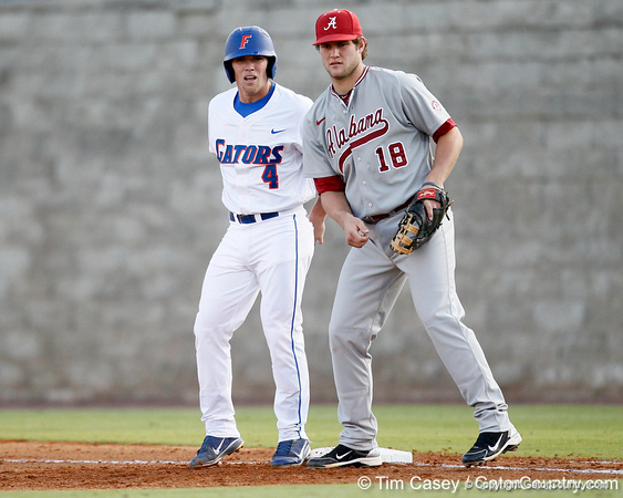 Florida sophomore shortstop Nolan Fontana stands on first base during the Gators' 7-0 win against the Alabama Crimson Tide on Friday, April 22, 2011 at McKethan Stadium in Gainesville, Fla. / Gator Country photo by Tim Casey