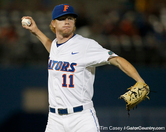 Florida sophomore pitcher Hudson Randall throw to first base during the Gators' 7-0 win against the Alabama Crimson Tide on Friday, April 22, 2011 at McKethan Stadium in Gainesville, Fla. / Gator Country photo by Tim Casey