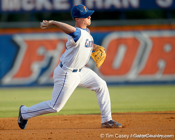 Florida sophomore shortstop Nolan Fontana throws to first base during the Gators' 7-0 win against the Alabama Crimson Tide on Friday, April 22, 2011 at McKethan Stadium in Gainesville, Fla. / Gator Country photo by Tim Casey