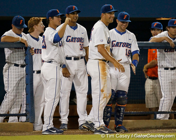 Florida sophomore Brian Johnson greets Nick Maronde during the Gators' 7-0 win against the Alabama Crimson Tide on Friday, April 22, 2011 at McKethan Stadium in Gainesville, Fla. / Gator Country photo by Tim Casey