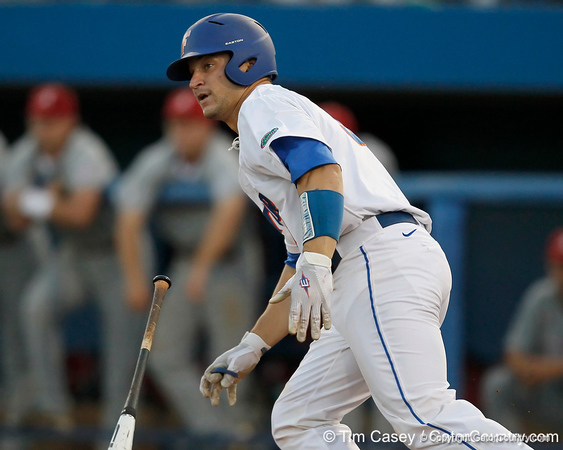 Florida sophomore catcher Mike Zunino runs to first base during the Gators' 7-0 win against the Alabama Crimson Tide on Friday, April 22, 2011 at McKethan Stadium in Gainesville, Fla. / Gator Country photo by Tim Casey