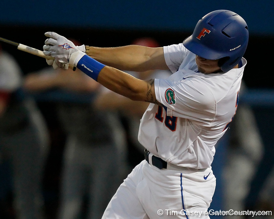 Florida junior outfielder Tyler Thompson swings at a pitch during the Gators' 7-0 win against the Alabama Crimson Tide on Friday, April 22, 2011 at McKethan Stadium in Gainesville, Fla. / Gator Country photo by Tim Casey