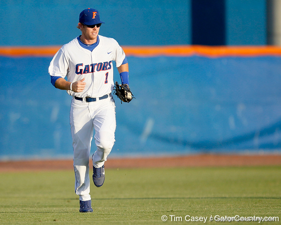 Florida senior Bryson Smith returns to the dugout during the Gators' 7-0 win against the Alabama Crimson Tide on Friday, April 22, 2011 at McKethan Stadium in Gainesville, Fla. / Gator Country photo by Tim Casey