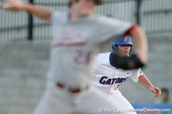 Florida sophomore Austin Maddox leads off of first base during the Gators' 7-0 win against the Alabama Crimson Tide on Friday, April 22, 2011 at McKethan Stadium in Gainesville, Fla. / Gator Country photo by Tim Casey
