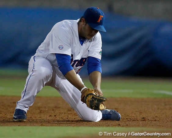 Florida junior Preston Tucker fields a ground ball during the Gators' 7-0 win against the Alabama Crimson Tide on Friday, April 22, 2011 at McKethan Stadium in Gainesville, Fla. / Gator Country photo by Tim Casey