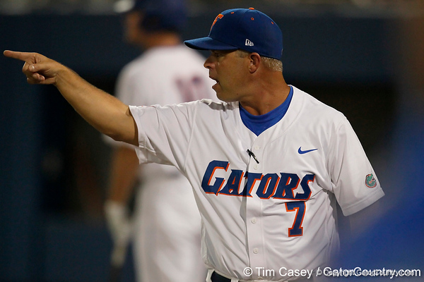 Florida baseball head coach Kevin O'Sullivan points to the field during the Gators' 7-0 win against the Alabama Crimson Tide on Friday, April 22, 2011 at McKethan Stadium in Gainesville, Fla. / Gator Country photo by Tim Casey