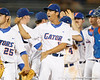 Florida junior pitcher Tommy Toledo celebrates with teammates after the Gators' 7-0 win against the Alabama Crimson Tide on Friday, April 22, 2011 at McKethan Stadium in Gainesville, Fla. / Gator Country photo by Tim Casey