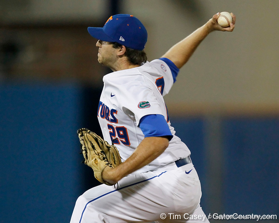 Florida junior right fielder Preston Tucker delivers a pitch during the Gators' 7-0 win against the Alabama Crimson Tide on Friday, April 22, 2011 at McKethan Stadium in Gainesville, Fla. / Gator Country photo by Tim Casey