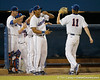 Florida redshirt sophomore Vickash Ramjit greets sophomore pitcher Hudson Randall during the Gators' 7-0 win against the Alabama Crimson Tide on Friday, April 22, 2011 at McKethan Stadium in Gainesville, Fla. / Gator Country photo by Tim Casey