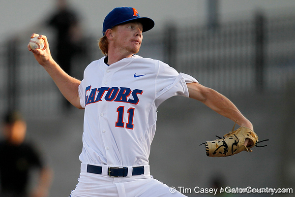 Florida sophomore pitcher Hudson Randall winds up during the Gators' 7-0 win against the Alabama Crimson Tide on Friday, April 22, 2011 at McKethan Stadium in Gainesville, Fla. / Gator Country photo by Tim Casey