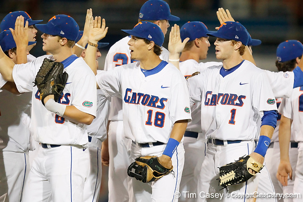 Florida junior outfielder Tyler Thompson celebrates with teammates after the Gators' 7-0 win against the Alabama Crimson Tide on Friday, April 22, 2011 at McKethan Stadium in Gainesville, Fla. / Gator Country photo by Tim Casey