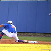 Senior Vickash Ramjit catching the ball before the Duke player reaches first base during the Gators' 4-2 win against Duke on Saturday, February 16, 2013 at McKethan Stadium in Gainesville, Fla. / Gator Country photo by Danielle Bloch