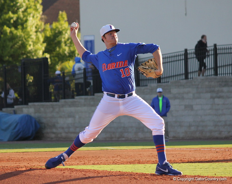 Sophomore Tucker Simpson throwing a pitch during the Gators' 4-2 win against Duke on Saturday, February 16, 2013 at McKethan Stadium in Gainesville, Fla. / Gator Country photo by Danielle Bloch