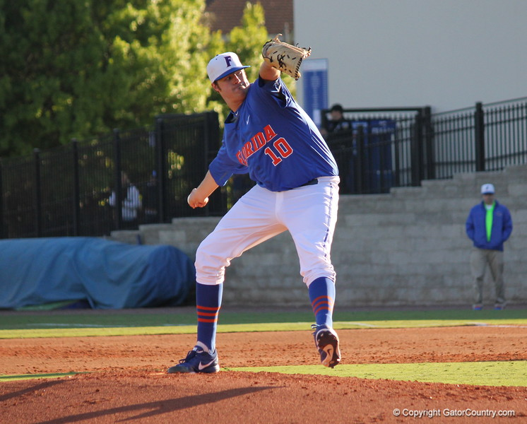 Pitcher Tucker Simpson during the Gators' 4-2 win against Duke on Saturday, February 16, 2013 at McKethan Stadium in Gainesville, Fla. / Gator Country photo by Danielle Bloch