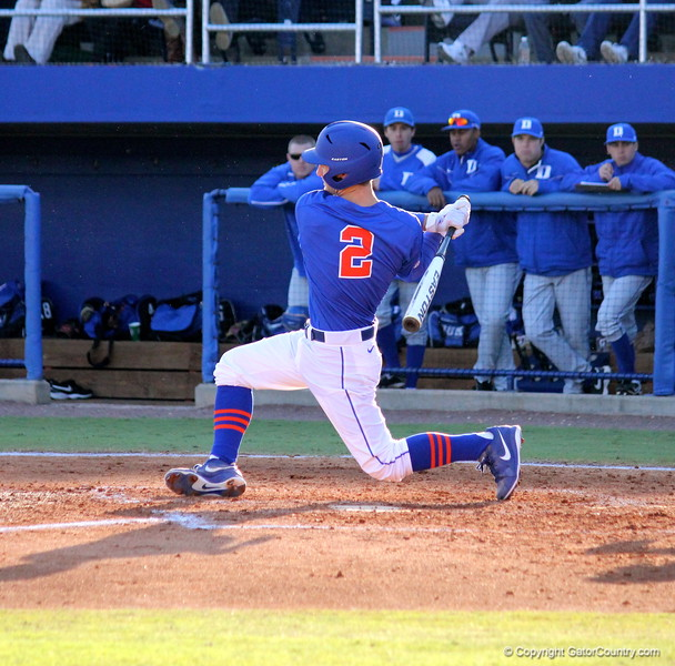 Sophomore Casey Turgeon swinging the bat during the Gators' 4-2 win against Duke on Saturday, February 16, 2013 at McKethan Stadium in Gainesville, Fla. / Gator Country photo by Danielle Bloch