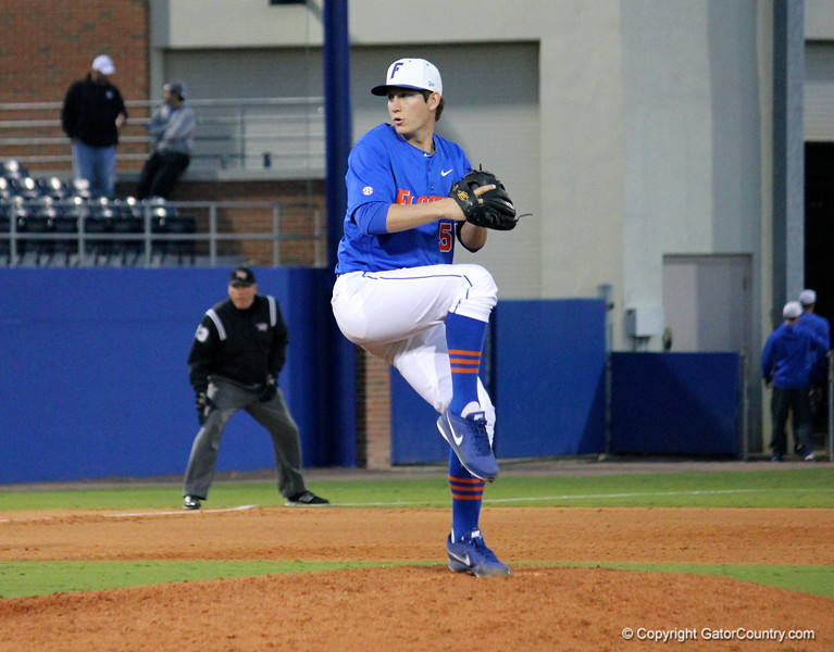 Pitcher Parker Danciu about to throw the ball during the Gators' 4-2 win against Duke on Saturday, February 16, 2013 at McKethan Stadium in Gainesville, Fla. / Gator Country photo by Danielle Bloch