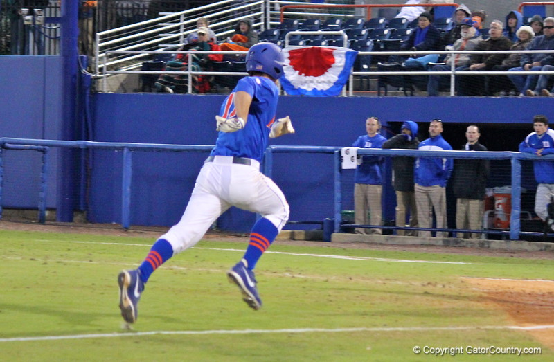 Sophomore Taylor Gushue running home during the Gators' 4-2 win against Duke on Saturday, February 16, 2013 at McKethan Stadium in Gainesville, Fla. / Gator Country photo by Danielle Bloch