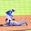 Freshman Richie Martin catching the ball while a Blue Devil slides to second base during the Gators' 4-2 win against Duke on Saturday, February 16, 2013 at McKethan Stadium in Gainesville, Fla. / Gator Country photo by Danielle Bloch