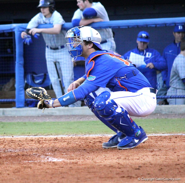 Catcher Taylor Gushue during the Gators' 4-2 win against Duke on Saturday, February 16, 2013 at McKethan Stadium in Gainesville, Fla. / Gator Country photo by Danielle Bloch