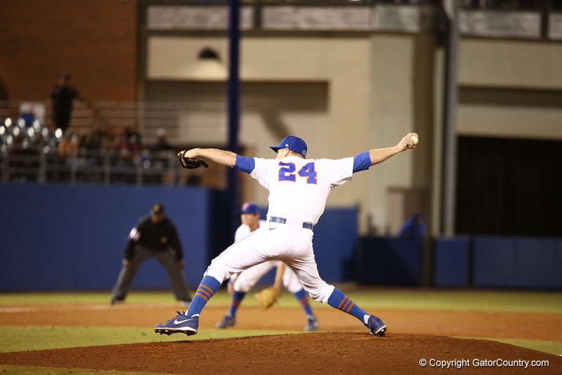 Ryan Harris during Florida's 1-4 loss to Florida State on March 12, 2013 in Gainesville, Florida. Photos by Curtis Bryant for Gatorcountry.com