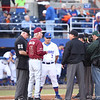 Coaches meeting during Florida's 1-4 loss to Florida State on March 12, 2013 in Gainesville, Florida. Photos by Curtis Bryant for Gatorcountry.com
