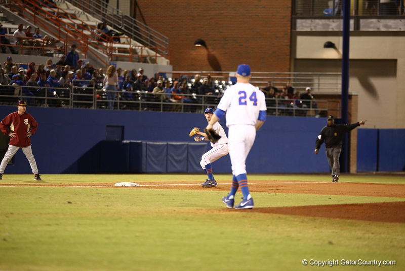 Zack Powers during Florida's 1-4 loss to Florida State on March 12, 2013 in Gainesville, Florida. Photos by Curtis Bryant for Gatorcountry.comJust