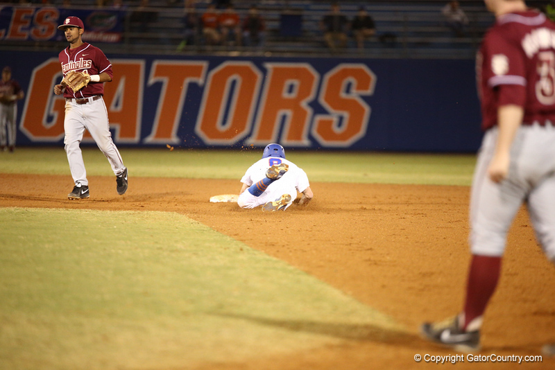 Harrison Bader during Florida's 1-4 loss to Florida State on March 12, 2013 in Gainesville, Florida. Photos by Curtis Bryant for Gatorcountry.com