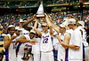 ATLANTA - MARCH 11:  The Florida Gators celebrate with the trophy after a 77-56 victory over the Arkansas Razorbacks in the championship game of the Southeastern Conference Men's Basketball Tournament on March 11, 2007 at the Georgia Dome in Atlanta, Georgia.  (Photo by Streeter Lecka/Getty Images)