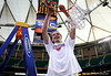 ATLANTA - MARCH 11:  Joakim Noah #13 of the Florida Gators celebrates after cutting down the nets after defeating the Arkansas Razorbacks 77-56 in the championship game of the Southeastern Conference Men's Basketball Tournament on March 11, 2007 at the Georgia Dome in Atlanta, Georgia.  (Photo by Streeter Lecka/Getty Images)