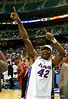 ATLANTA - MARCH 11:  Al Horford #42 of the Florida Gators celebrates after defeating the Arkansas Razorbacks 77-56 in the championship game of the Southeastern Conference Men's Basketball Tournament on March 11, 2007 at the Georgia Dome in Atlanta, Georgia.  (Photo by Streeter Lecka/Getty Images)