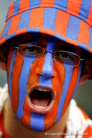 ATLANTA - MARCH 11:  A fan of the Florida Gators before the championship game of the Southeastern Conference Men's Basketball Tournament on March 11, 2007 at the Georgia Dome in Atlanta, Georgia.  (Photo by Streeter Lecka/Getty Images)