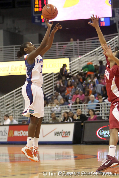Florida freshman guard Jaterra Bonds shoots for three during the first half of the Gators' 70-64 win against the Alabama Crimson Tide on Thursday, January 27, 2011 at the Stephen C. O'Connell Center in Gainesville, Fla. / Gator Country photo by Tim Casey