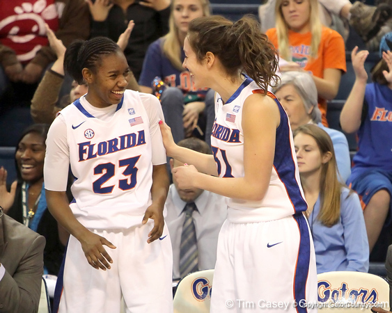 Florida freshman guard Brittany Shine and redshirt-freshman forward Lily Svete laugh on the bench during the second half of the Gators' 70-64 win against the Alabama Crimson Tide on Thursday, January 27, 2011 at the Stephen C. O'Connell Center in Gainesville, Fla. / Gator Country photo by Tim Casey