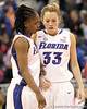 Florida junior guard Lanita Bartley talks with redshirt-junior Jordan Jones during the first half of the Gators' 70-64 win against the Alabama Crimson Tide on Thursday, January 27, 2011 at the Stephen C. O'Connell Center in Gainesville, Fla. / Gator Country photo by Tim Casey